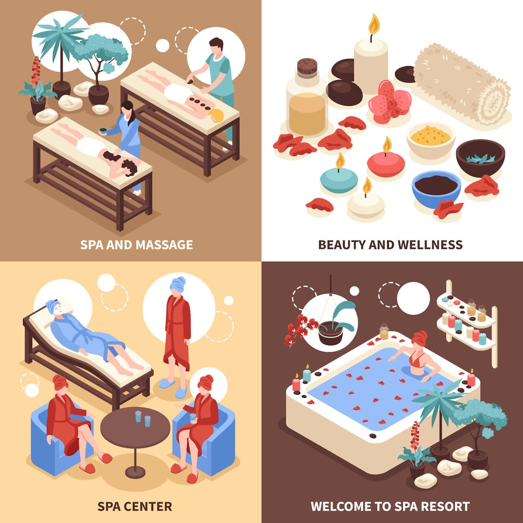 Spa resort 2x2 design concept with clients visiting spa center and wellness goods decorative icons isometric vector illustration